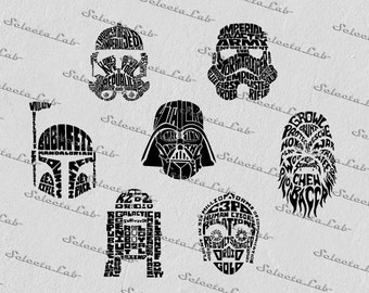 Digital SVG PNG typhographic star wars inspired, chewbacca, stormtrooper, yoda, skywalker, clipart, vector, silhouette, instant download