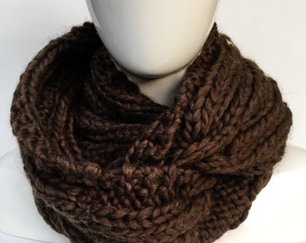 Oversized cable Scarf, Chunky Cable Scarf, Chunky Scarf, Oversized Knit Cowl Scarf, Brown Neck Warmer, Christmas gifts, Gifts under 80
