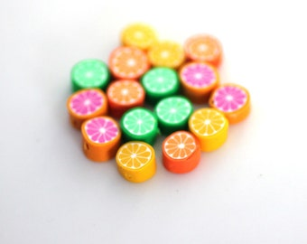 Fruit Beads, Polymer Clay Beads, Bright Citrus Slices Orange Lemon Lime Grapefruit 16 Pieces