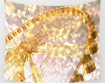 Ferris Wheel in Paris Tapestry, Love Tapestry, Gold Bokeh Large Wall Decor, Dreamy Tapestry Whimsical Decor Wall Hanging,Dorm Privacy Screen