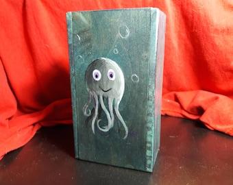 Hand Painted Octopus on Wood - MTG Hardwood Deck Box - Slide top box
