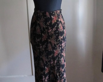 90s Betsey Johnson Fishtail Hem Black Floral Skirt