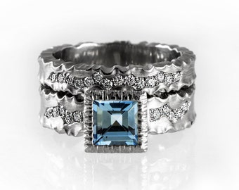 Unique ring set, matching engagement and wedding ring, matching rings, aquamarine engagement ring, blue diamond ring, modern wedding band
