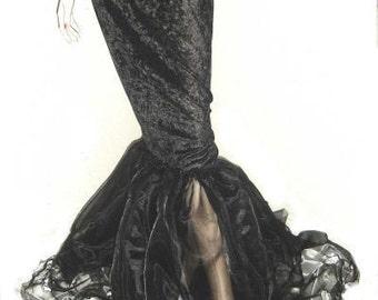 Mermaid Skirt Gothic Goth Black Stretch Velvet and Tattered Organza Custom Made to Measure including Plus Sizes Floor Length Skirt