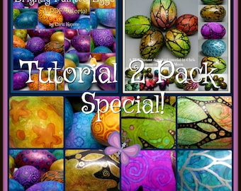 Unique Painted Eggs, PDF Tutorial Special Bundle Pack, Easter Egg Art, DIY, Holiday Decor