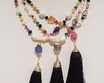 Tassel Necklace, Pearls and Crystal Necklace, Crystals and Tassel Necklace. Boho Style. Fashion Necklace, Bohemian Tassel Necklace, Handmade