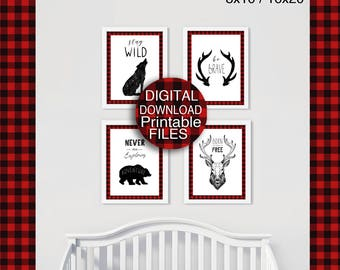 Printable Buffalo Plaid Baby Nursery Print Rustic Woodland Animals Lumberjack Red Black 8x10 16x20