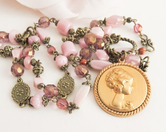 Victorian pink cameo necklace, vintage style beaded necklace, cameo jewelry, gift for her, brass and bronze, wife gift