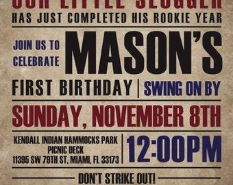 Vintage Baseball First Birthday Invitation