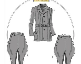 6340 Butterick, Making History, Banded Jacket, Breeches and Jodhpurs, victorian, edwardian, Reenactment Clothes Historical costumes
