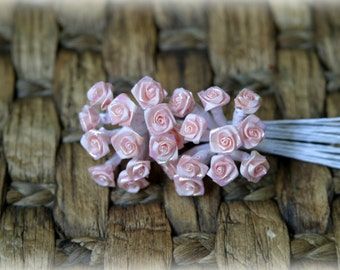 Tresors Pack of 24 Metallic Pink Shabby Chic Roses 8mm across PF-012