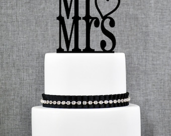 Mr and Mrs with Heart Traditional and Elegant Wedding Cake Toppers in your Choice of Color - Mr&Mrs Heart- (T066)