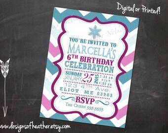 Chevron Frozen Winter Digital Birthday Invitation