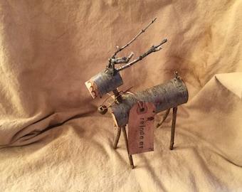 folk art primitive wooden reindeer/holiday/winter decor