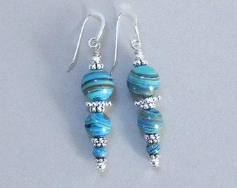 Blue Calsilica Silver Drop Earrings