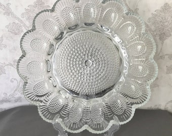 Deviled Egg Serving Plate - Hobnail Clear Glass Egg Plate by Indiana Glass - Egg Dish