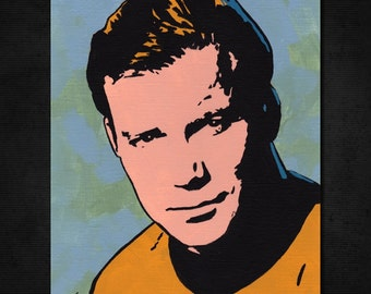 "Star Trek Captain James T. Kirk, New ORIGINAL Acrylic Pop Art Painting 6"" x 8"" Canvas Paper. William Shatner. Hand-painted artwork. Trekkie"