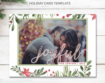 Rose Gold Christmas Card Template 5x7, Rustic Photo Christmas Cards Printable, Joyful Christmas Photo Card, Photo Holiday Card, mc190