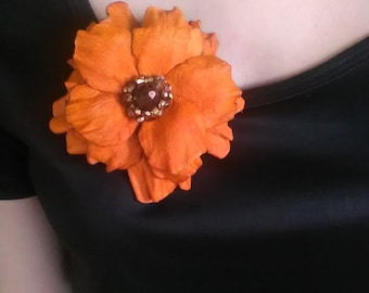 Leather flower brooch, Leather jewelry, Orange flower, Leather brooch, Wedding jewelry, Handmade brooch.