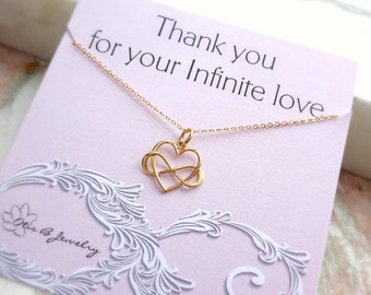 Dainty minimal infinity heart charm necklace message card for mother's in law gift for mom grandmother sisters aunt cousin best friend