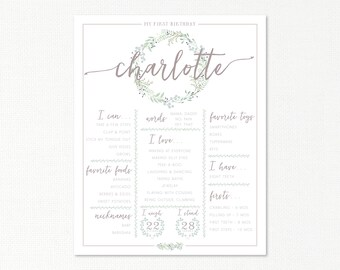 Custom First Year First Birthday Infographic Milestones Poster Board Sign 16x20 - baby one year - digital printable - Botanical Greens