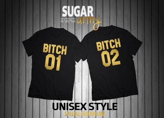 BITCH 01 BITCH 02 set of tshirts, bff shirts, best friends clothes, best bitches tshirts, bitch shirts, UNISEX t-shirts, 100% cotton