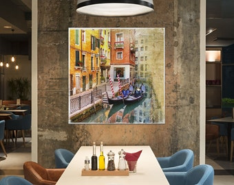 Venezia Gondole Artwork Leather Print/Extra Large Print/Extra Large Wall Art/Large Wall Decor/Venice Print/Better than Canvas!