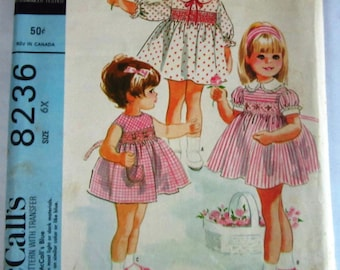 Little Girls Dress 3 Styles with Transfer for Smocking Size 6X Vintage 1960s McCalls Pattern 8236 UNCUT