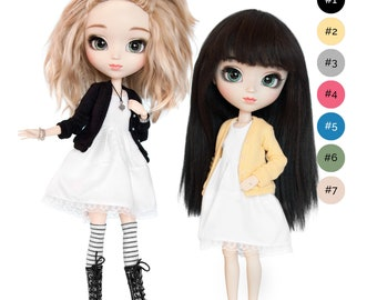 White dress with cardigan / sweater for Pullip, Pure Neemo, Blythe, Dal, Obitsu 27 dolls