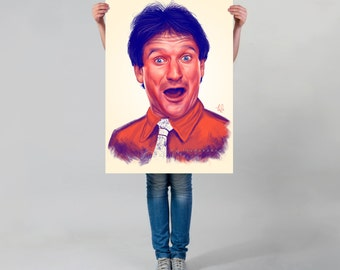 Robin Williams LARGE wall ART print,  wall art decoration, actor illustration, Williams poster,  large Williams art, happy Robin Williams