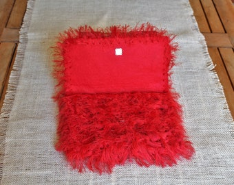 Envelope clutch, Trending now, Faux fur clutch, Flame red handbag, Red clutch handbags, Fur like purse, Statement purse, Gift for her