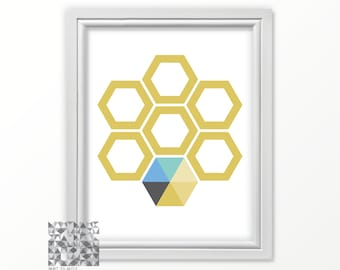 Gold Wall Art, Instant Download, Hexagon Print, Hexagon Art, Abstract Download, Gold Hexagon Art, Gold Honeycomb, Geometric Print : A0213
