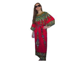 70's Straight Hippie Tunica Red Folklore Ornaments Folk Prints Folklore Dress Size Small Medium S Floral Picnic 70s Dress Mod Long Dress