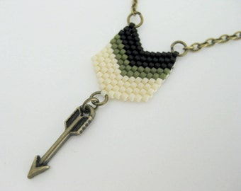 Peyote Chevron Pendant / Peyote Arrow Pendant / Beaded Pendant in Black and Olive /   Petite Peyote Pendant / Seed Bead Pendant / Chevron