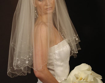 Hand Beaded wedding veil - 2 layers bridal veil - embroidered flower wedding veil. Ready to ship.