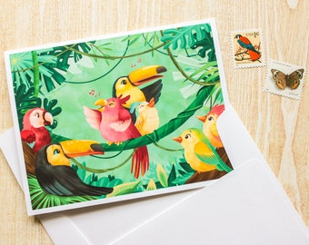 Jungle Birds, Toucan, Parrot Greeting Card, Blank Card - Cute Card - Animal Card - Just Because - Any Occasion - Illustrated