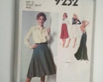 70s skirt / long skirt pattern /  A line skirt / skirt sewing pattern / vintage patterns/ women sewing, Waist 26, size 12, Simplicity 9232