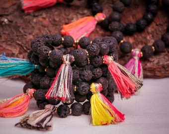Lava Rock Bracelet with Custom made Tassel, Stretch and Fun, Choose 2 Colors, Made with Love in Brooklyn