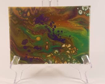 Acrylic Pour 5 x 7 (Peek a Boo)painting on a stretched canvas  Green and Purple