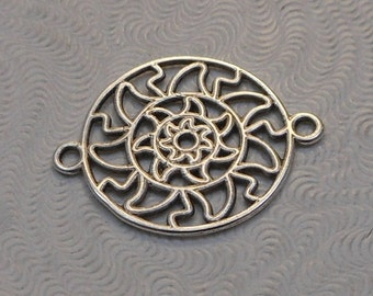 LuxeOrnaments Antiqued Sterling Silver Plated Brass Filigree European Cast 2 sided Connector 22x17mm (1pc) B-14120-S