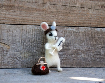 Doctor bunny ornament Felted Doll medical rabbit Cute Gift for surgeon doctor nurse Animal lover Waldorf  Wool felted bunny Unique gift