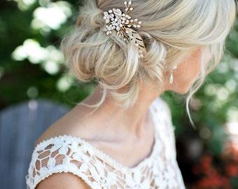 Gold Pearl Bridal Wedding Comb, Boho Wedding Gold Hair Vine, Wedding Gold Hair vine leaves, Wire Hair Comb, Boho Headpiece - 'CALLIE'