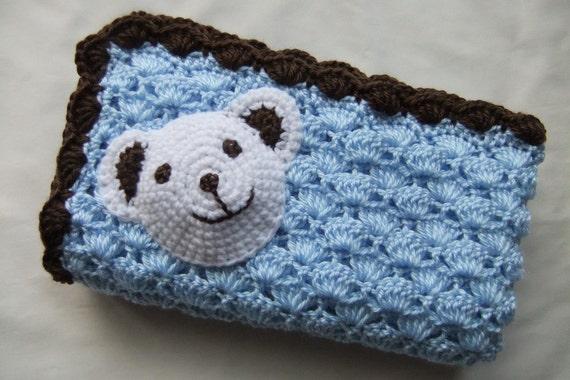 Junge Babydecke häkelarbeitbaby Decke blau/Schokolade