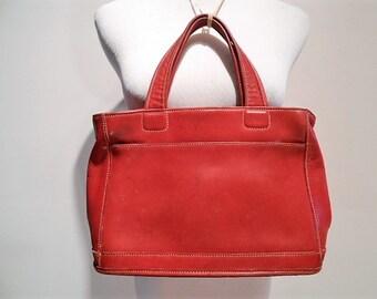 Vintage Red Coach All Leather Bleeker Tote Handbag Purse Bag, c. 1990