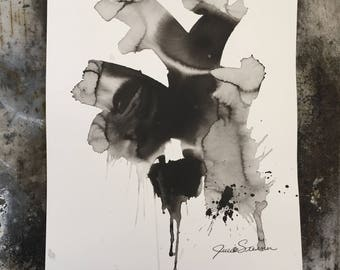 Black and White Original Expressionist Art Painting Fine art abstract by Julie Steiner