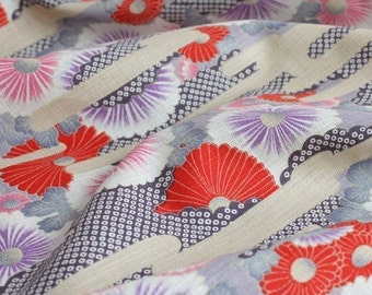 Traditional Cherry Blossom, Pink and Purple Colorway-Japanese Cotton Linen Blended Fabric (Fat Quarter, 17.7x21.5 Inches)