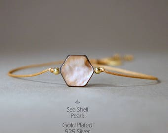 Bracelet with Shell-pearl in brown/white-gold, 925Silber gilded, shell bead, friendship bracelet, thin wristband, shell, hexagon