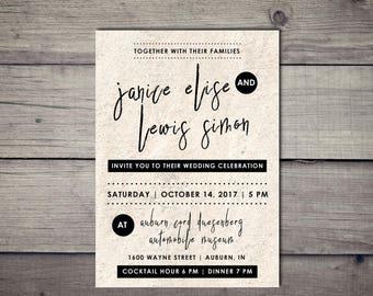Retro wedding invitation Etsy