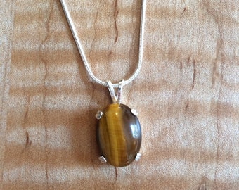 Tigereye Cabochon in Sterling Silver Setting
