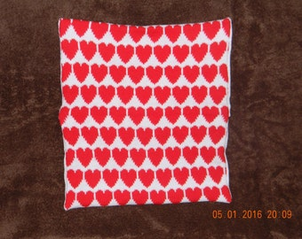 Handmade knitted heart cushion cover complete with infill